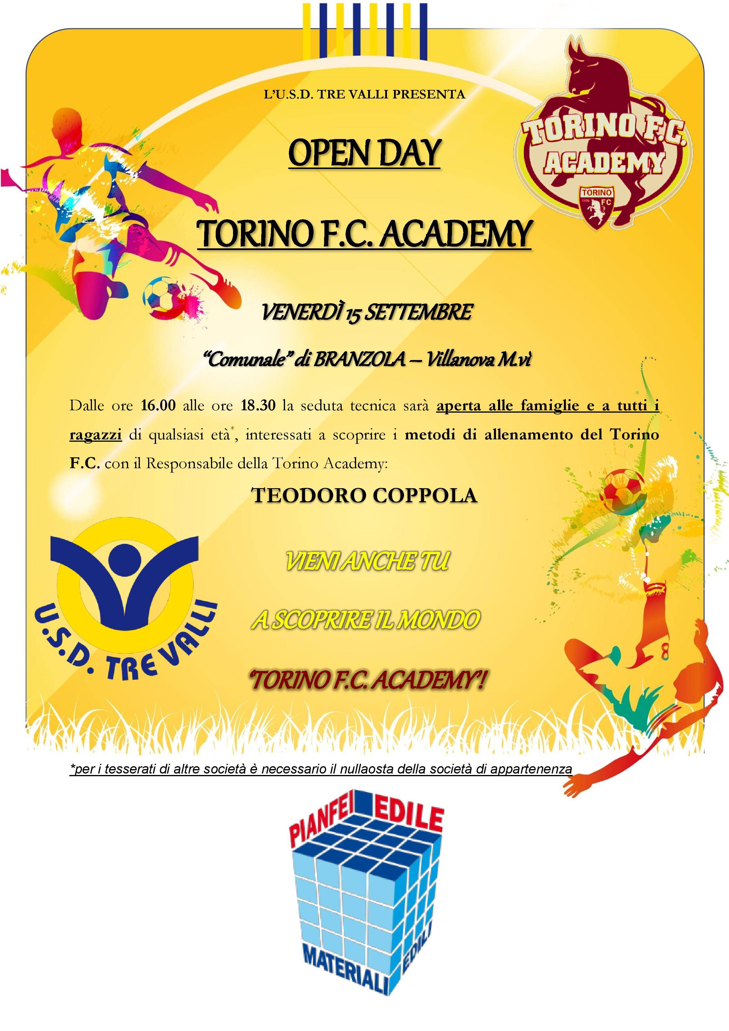 OPEN DAY – TORINO ACADEMY, 15/09/17